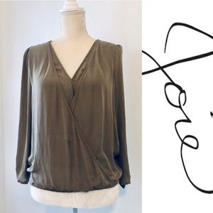 joie olive draped faux wrap silk 3/4 sleeve blouse